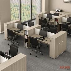 Mesa plataforma de trabalho 4 lugares com armário torre RZMV/PLUS