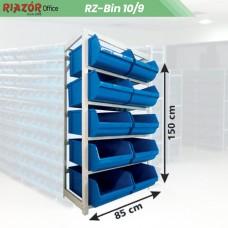Estante com gavetas plásticas modular Bin 10/9