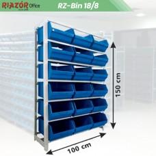 Estante com gavetas plásticas modular Bin 18/8