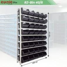 Estante com gavetas plásticas modular Bin 40/6