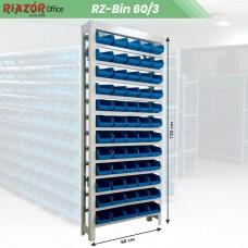Estante com gavetas plásticas modular Bin 60/3