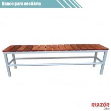 Banco para vestiário em aço com assento de madeira RZTR-018ARB