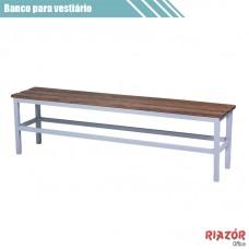 Banco para vestiário em aço com assento de 3 ripas madeira RZTR-038ARB