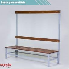 Banco para vestiário em aço com cabideiro de madeira RZTR-048/3ARB