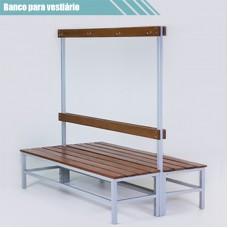 Banco para vestiário duplo em aço com cabideiro de madeira RZTR-048/4ARB