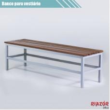 Banco para vestiário em aço com assento de 4 ripas madeira RZTR-048/1ARB