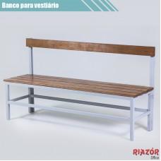 Banco para vestiário em aço com assento de 4 ripas e encosto de madeira RZTR-048/2ARB