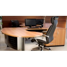 Mesa para Escritório Diretor peninsular com armário RZMV-PRE25