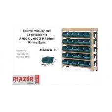 Estante com gavetas plásticas modular Bin 25/3