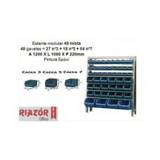 Estante com gavetas plásticas modular Bin 49 mista